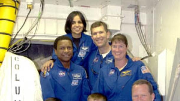 Kurz-Porträts der sieben Astronauten