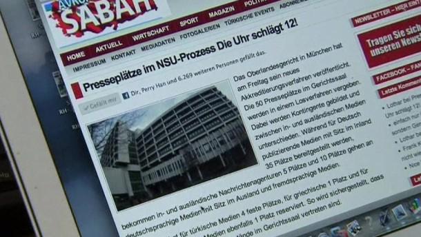 Türkische Medien sollen beim NSU-Prozess vier Plätze erhalten.