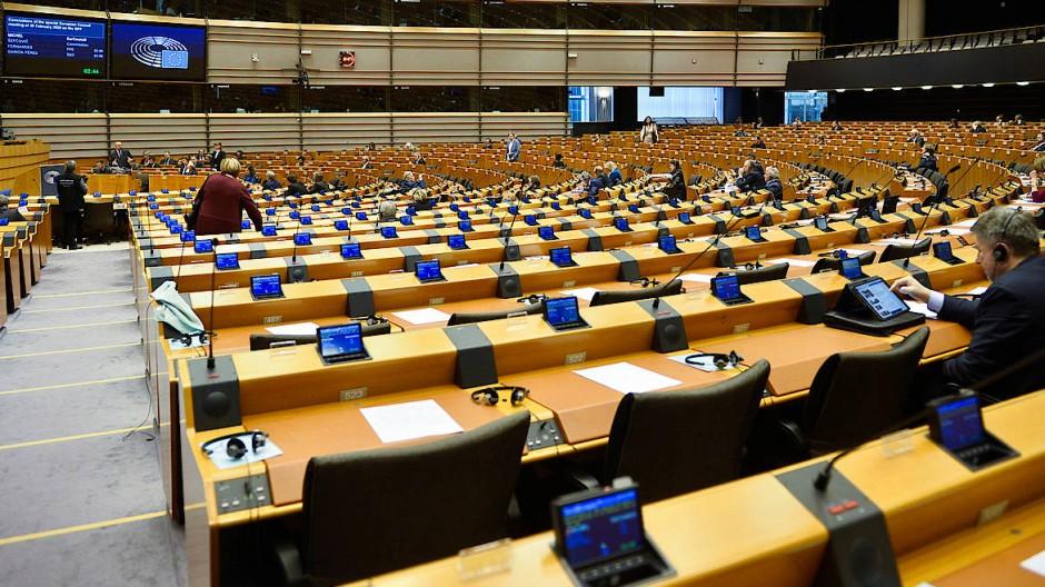 Das Europäische Parlament war am Montag nur spärlich besucht.