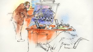 Aurora Police Detective Matthew Ingui is pictured  in a courtroom sketch pointing out victims' locations in the movie theater while testifying in Centennial
