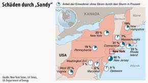 Infografik / Karte / Schäden durch Sandy