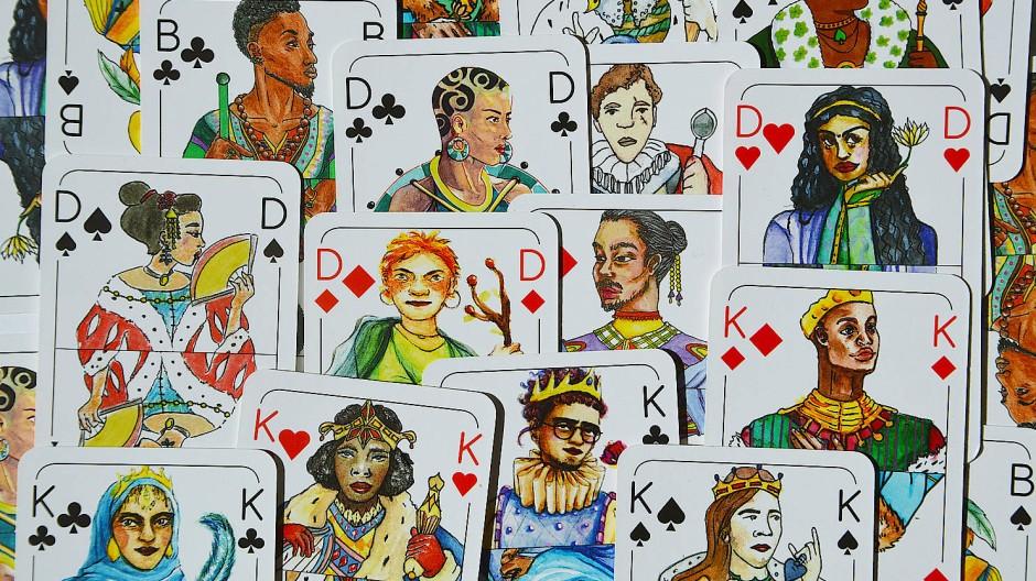 Die Welt ist vielfältig: Spielköpfe-Kartenspiel