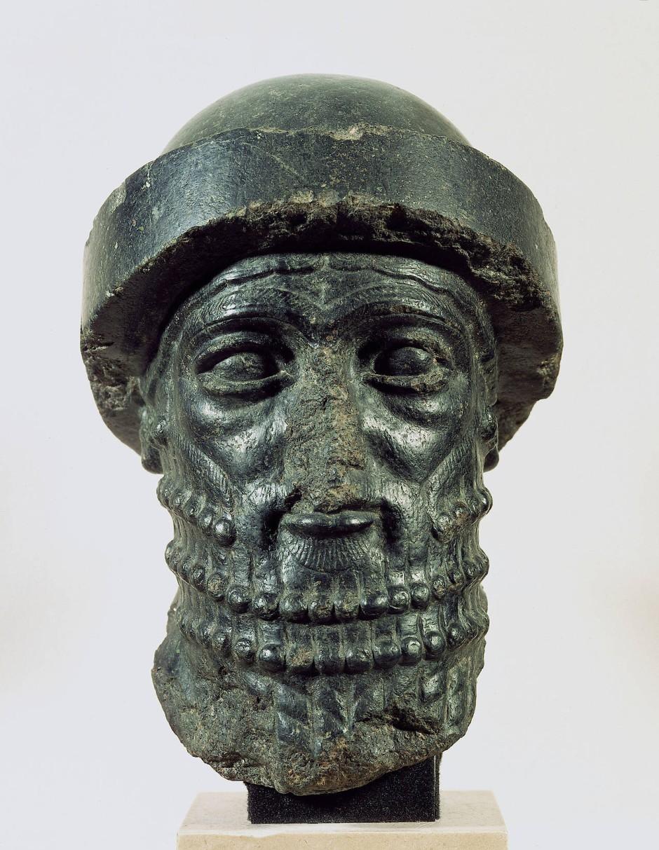 Kopf eines Königs, möglicherweise Hammurapis, aus Dioritstein – 1790 bis 1750 vor unserer Zeitrechnung.