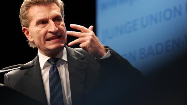 Oettinger kritisiert deutsches Nein zu Eurobonds