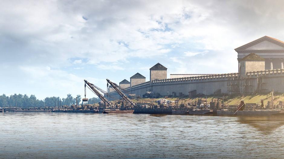 """Gigantomanisch als wäre es eine Kulisse für """"Game of Thrones"""": Virtuelle Ansicht der antiken Vorgängerstadt Xantens am niedergermanischen Limes"""