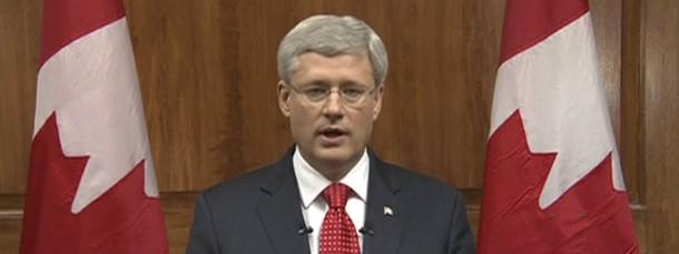 Nach dem Anschlag von Ottawa: Kanadas Premierminister Stephen Harper spricht im Fernsehen zu seinen Landsleuten