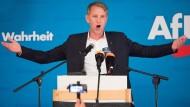 Björn Höcke, Vorsitzender der AfD in Thüringen, spricht zum Wahlkampfauftakt seiner Partei vor der Landtagswahl in Sachsen.