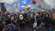 Demonstration im Schneeregen