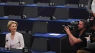 Zum Greifen nah: Ursula von der Leyen am Dienstagvormittag in Straßburg