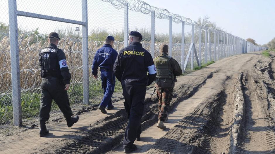 Gemeinsam patroullieren ein tschechischer, ein slovakischer und ein ungarischer Polizist sowie ein ungarischer Soldat an der serbisch-ungarischen Grenze.