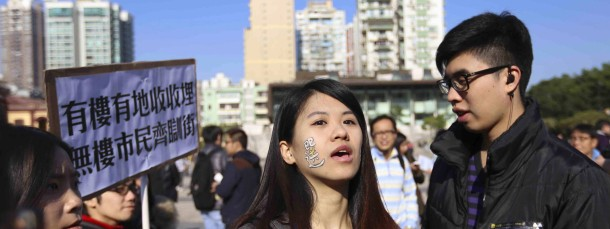 Demonstranten in der früheren portugiesischen Kolonie Macau