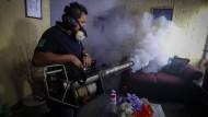 Kampf mit allen Mitteln: Ein Arbeiter des Gesundheitsministeriums in El Salvador desinfiziert eine Wohnung.