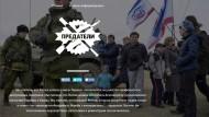 Denunzianten-Website predatel.net: Das erfundene Symbol greift den Twitter-Vogel auf, zeigt einen Molotow-Cocktail, ein Gewehr und einen Baseballschläger; im Text wird ein Eingreifen in der Ukraine gefordert