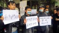 Gegen Pressezensur: Demonstranten in Guangzhou