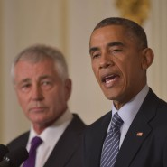 Rücktrittsverkündung: Der scheidende Verteidigungsminister Chuck Hagel und Präsident Barack Obama im Weißen Haus