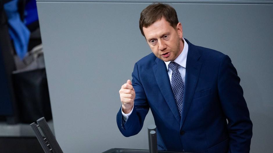 Michael Kretschmer bei einer Rede im Bundestag im Dezember 2020