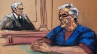 Wie ihn die Zeichnerin sieht: Jeffrey Epstein (rechts) vor Richter Richard Berman am 18. Juli im Gerichtssaal in New York