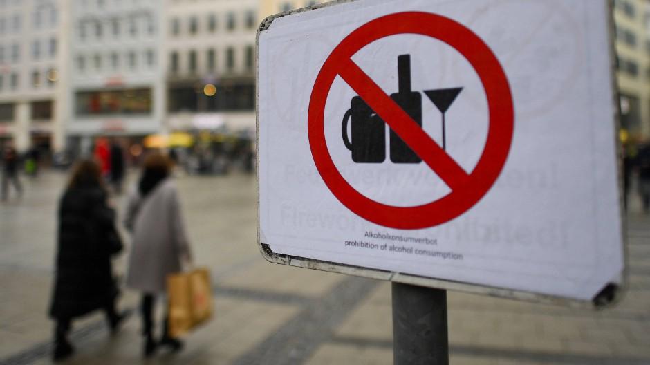 Verbotsschild in der Münchener Fußgängerzone