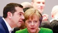 Inzwischen Partner: Merkel und Tsipras im Februar 2018 in Brüssel