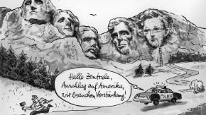 Karikatur / Greser und Lenz / Edward Snowden, Schurke oder Held?