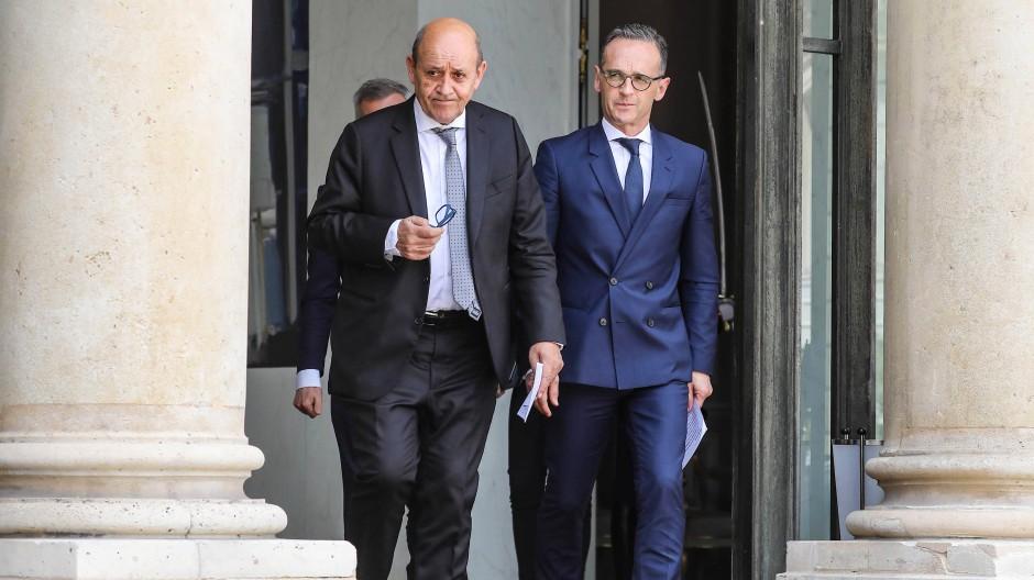 Europäisches Tandem: Frankreichs Außenminister Jean-Yves Le Drian (links) und sein deutscher Amtskollege Heiko Maas am Mittwoch in Paris
