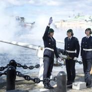 Marinesoldaten heißen im April in Stockholm den gerade geborenen Sohn von Prinz Carl Philip und Prinzessin Sofia mit Salutschüssen auf der Welt willkommen.