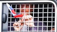 Für die Idee der Freiheit: Bei einer Kundgebung für Pressefreiheit festgenommener Demonstrant in Moskau am 12. Juni