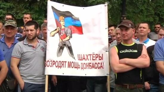 Ukrainische Bergarbeiter protestieren gegen Kiew