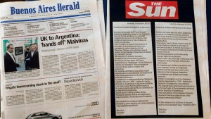 The advert taken out by British tabloid newspaper The Sun is published on page 5 of the English-language Buenos Aires Herald in Argentina