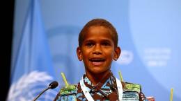 Zwölfjähriger fordert Taten auf Klimakonferenz