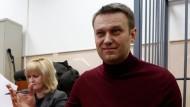 Alexej Nawalnyj an diesem Freitag im Gerichtssaal in Moskau