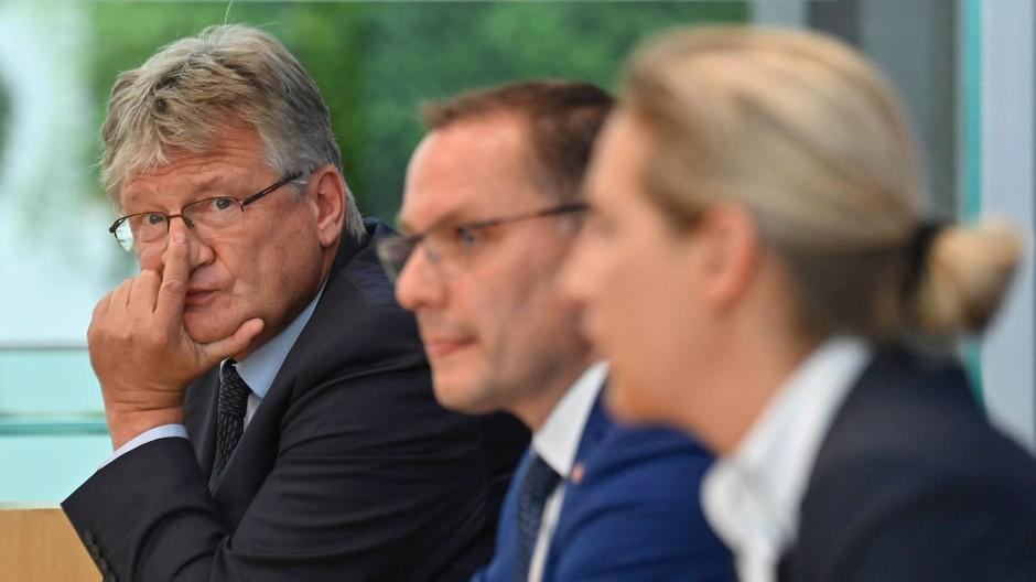 Sie werden in der AfD keine Freunde mehr: Jörg Meuthen, Tino Chrupalla und Alice Weidel nach der Bundestagswahl in Berlin.