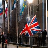 Da waren es nur noch 27: Vor dem Europäischen Parlament in Brüssel wurde am Freitagabend der Union Jack niedergeholt.