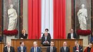 Europa first: Österreichs neuer Bundespräsident bei seiner Antrittsrede im Parlament in Wien.