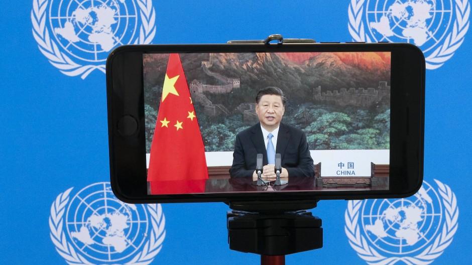 Chinas Staatspräsident Xi Jinping wandte sich per Videoschaltung an die UN-Generalversammlung