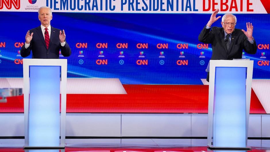 Wird es so nicht mehr geben: Das erste Fernsehduell nur zwischen Joe Biden und Bernie Sanders war auch schon das letzte.