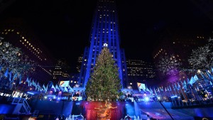 The Rockefeller Center Christmas tree stands lit during the 80th