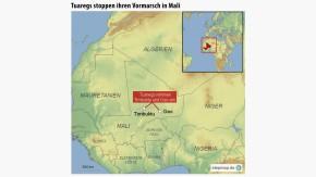 Infografik / Karte / Tuaregs stoppen ihren Vormarsch in Mali