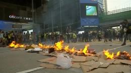 Hongkonger Geschäftsviertel im Chaos