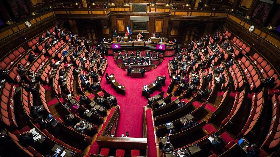Der italienische Senat am 20. Oktober bei einer Rede von Premierminister Mario Draghi