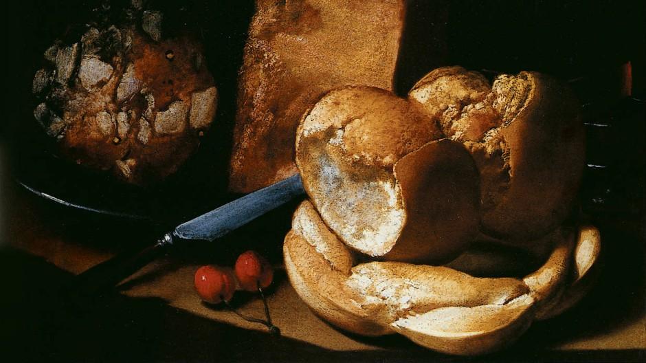Worin besteht die wahre Lebenslust? In wenigen Bedürfnissen und leicht zu erfüllenden Wünschen? Stillleben mit Brot, Wurst, Käse und einer Weinflasche (Öl auf Leinwand, Privatsammlung)