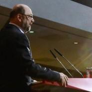 """Was bleibt vom """"Schulz-Effekt""""? SPD-Chef Martin Schulz am Sonntagabend im Willy-Brandt-Haus"""