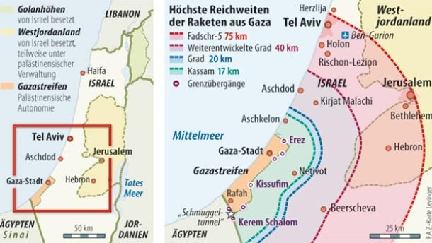Karte / Höchste Reichweiten der Raketen aus Gaza