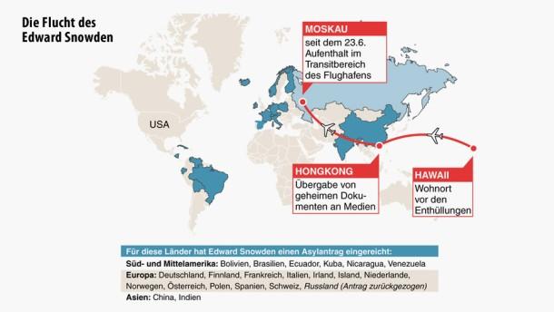 Karte / Die Flucht des Edward Snowden