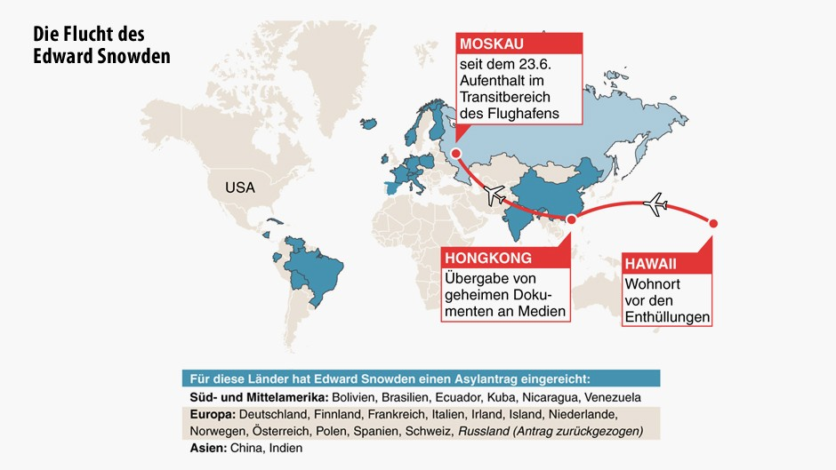 Bisherige Fluchtroute von Edward Snowden und mögliche Ziele