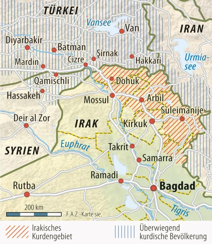Kurdengebiete im Irak sowie in Syrien, Iran und der Türkei