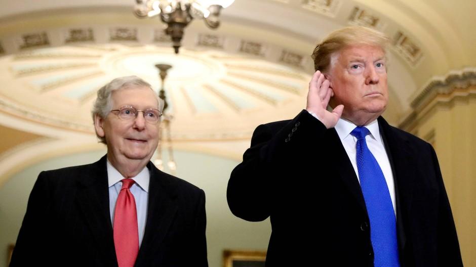 Senat am Zug: Mehrheitsführer Mitch McConnell und Präsident Trump im Frühjahr 2019 im Kapitol