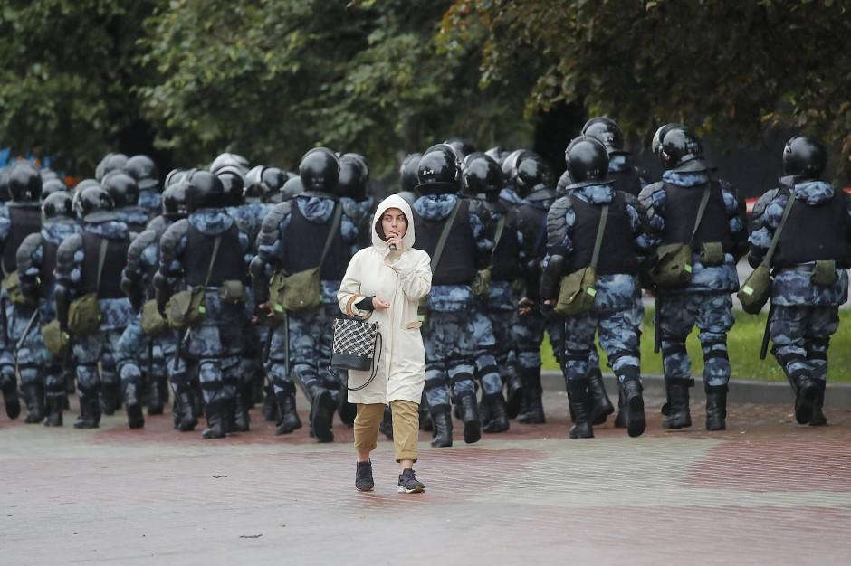 Am Rande der Demonstration in Moskau