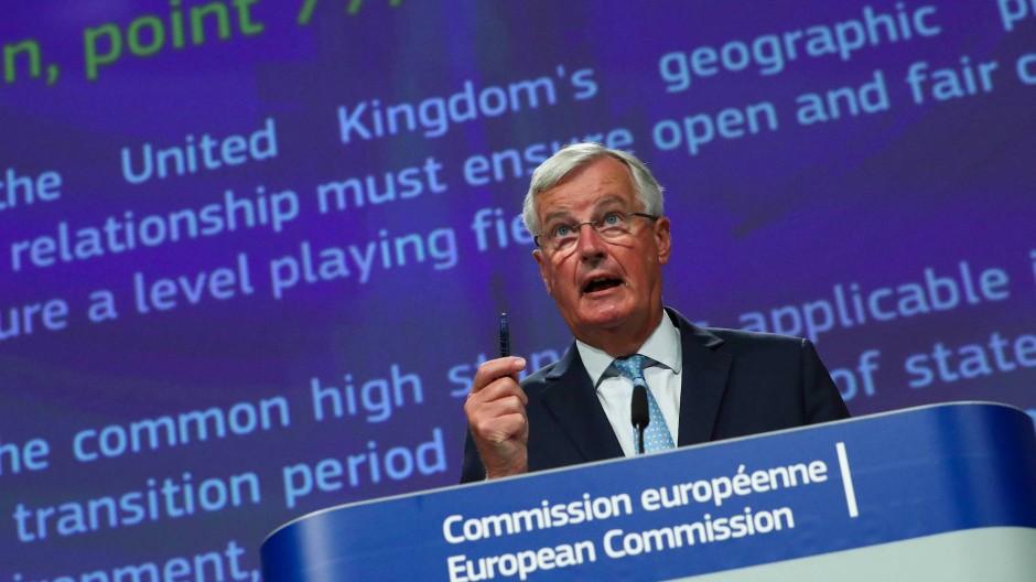 EU-Chefunterhändler Michel Barnier bei der Pressekonferenz am Freitag in Brüssel