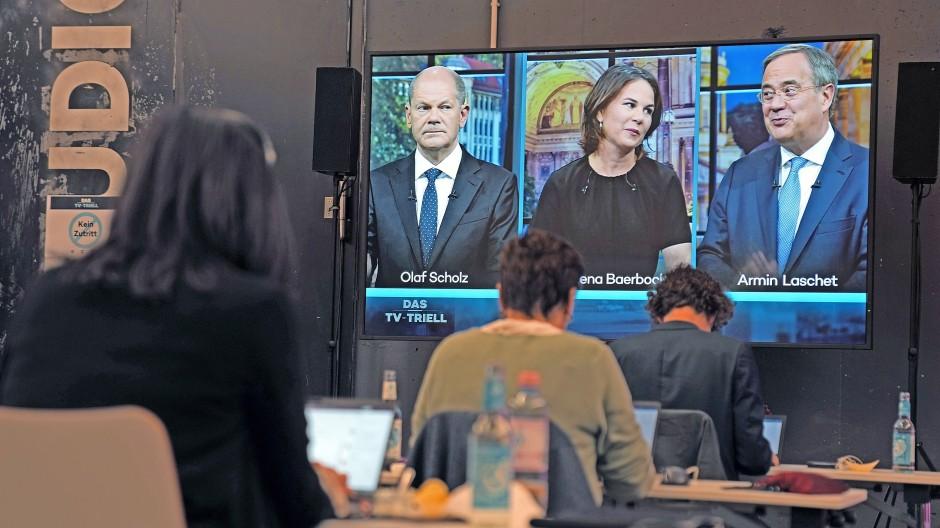 Scholz, Baerbock oder Laschet: Hier noch im TV-Triell, am Sonntag wird es ernst an den Wahlurnen